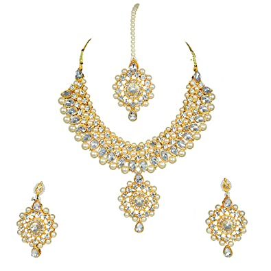 1e55437c0 Buy Reiki Crystal Products Pearl Kundan Traditional Necklace with Earrings  Jewellery Set for Women (Color : White & Golden) Online at Low Prices in  India ...