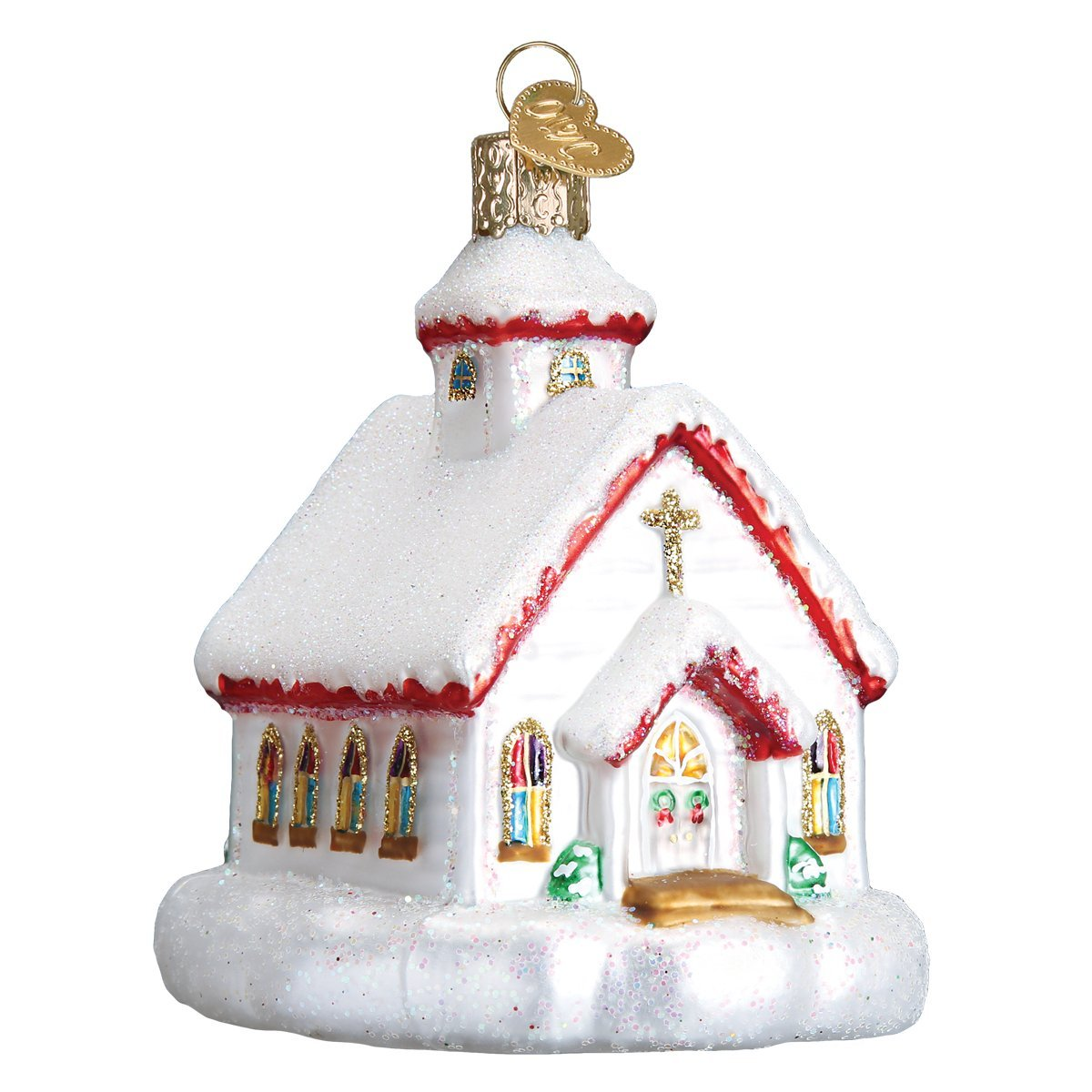 Religious Collection Divine Cross Old World Christmas Glass Blown Ornament with S-Hook and Gift Box