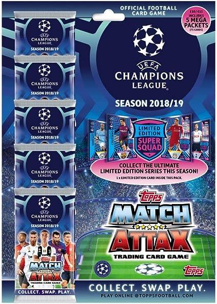 2018-19 TOPPS MATCH ATTAX Liga de Campeones Mega Pack 75 cartas Edición Limitada