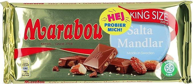 Salta Mandlar de chocolate con leche marabú - almendra salada, 200 ...