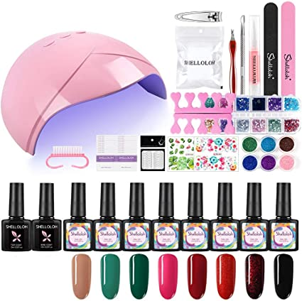 Shelloloh 8PCS Esmalte Semipermanente Uñas de Gel Soak off 10ml Nail Dryer 36W UV/LED Lámpara Uñas Capa Base Capa Superior Pedicura Manicura Kit: Amazon.es: Belleza