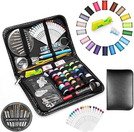 Estuche de costura, Myguru, con 100 artículos, como hilos y agujas variadas, para la familia y viajes: Amazon.es: Hogar