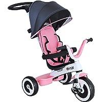 homcom Triciclo Passeggino per Bambini con Maniglione Tetto Parapioggia Regolabile Cestino Striscia Catarifrangente Parafango Anteriore, Rosa Chiara, 115x54x96 cm
