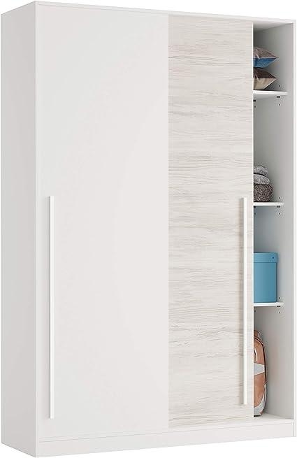 Habitdesign MAX121A - Armario 2 Puertas Correderas para Dormitorio o Habitación, Modelo Elliot, Acabado en Blanco Artik y Blanco Velho, Medidas: 120 cm (Largo) x 200 cm (Alto) x 50 cm (Fondo):