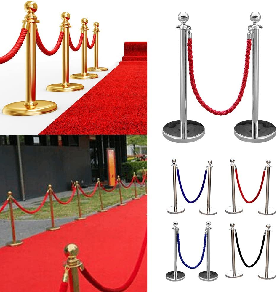 MultiWare Stainless Steel Queue Rope Barrier Post Stand 1.5m Twisted Blue