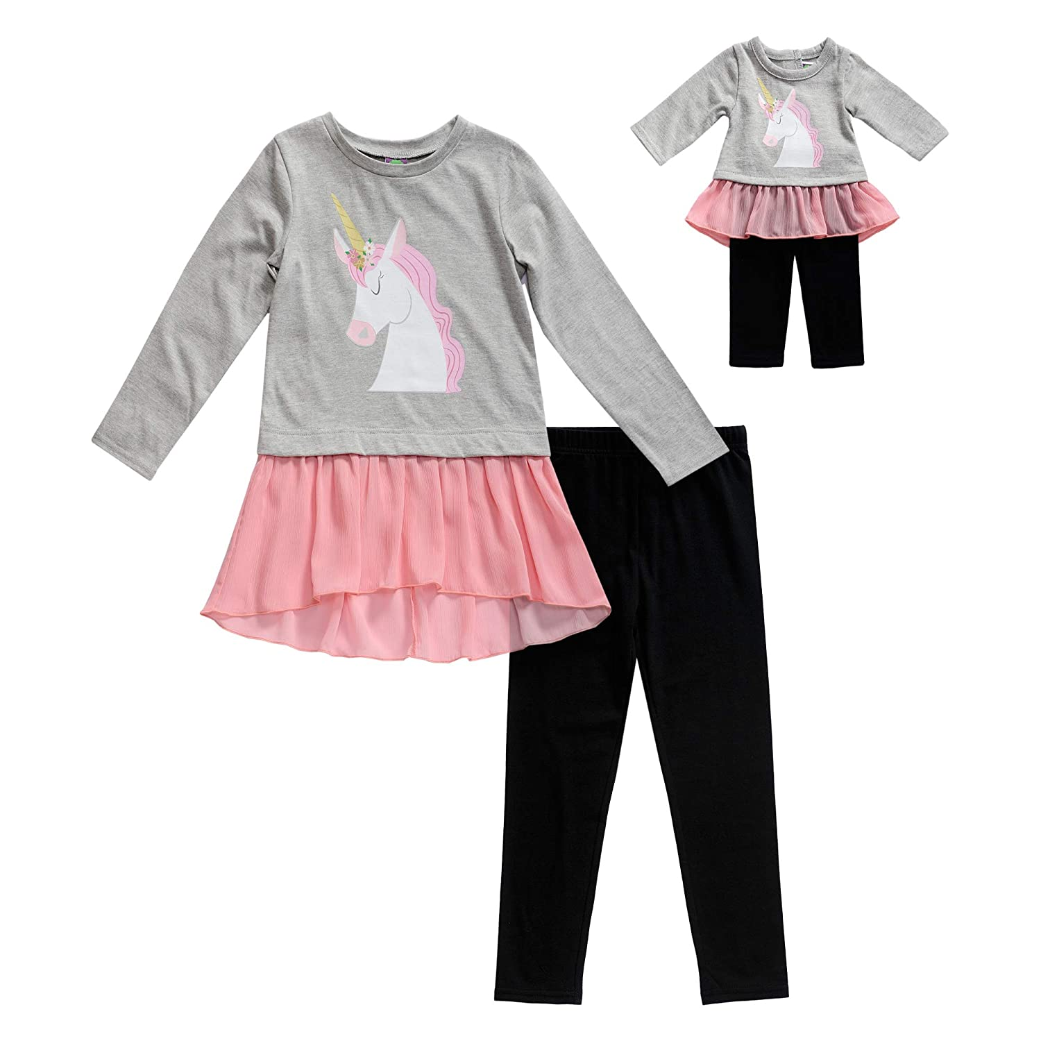 Amazon.com  Dollie   Me Girls  Apparel Knit Legging Set with Matching Doll  Outfit  Clothing 6e5c81f47