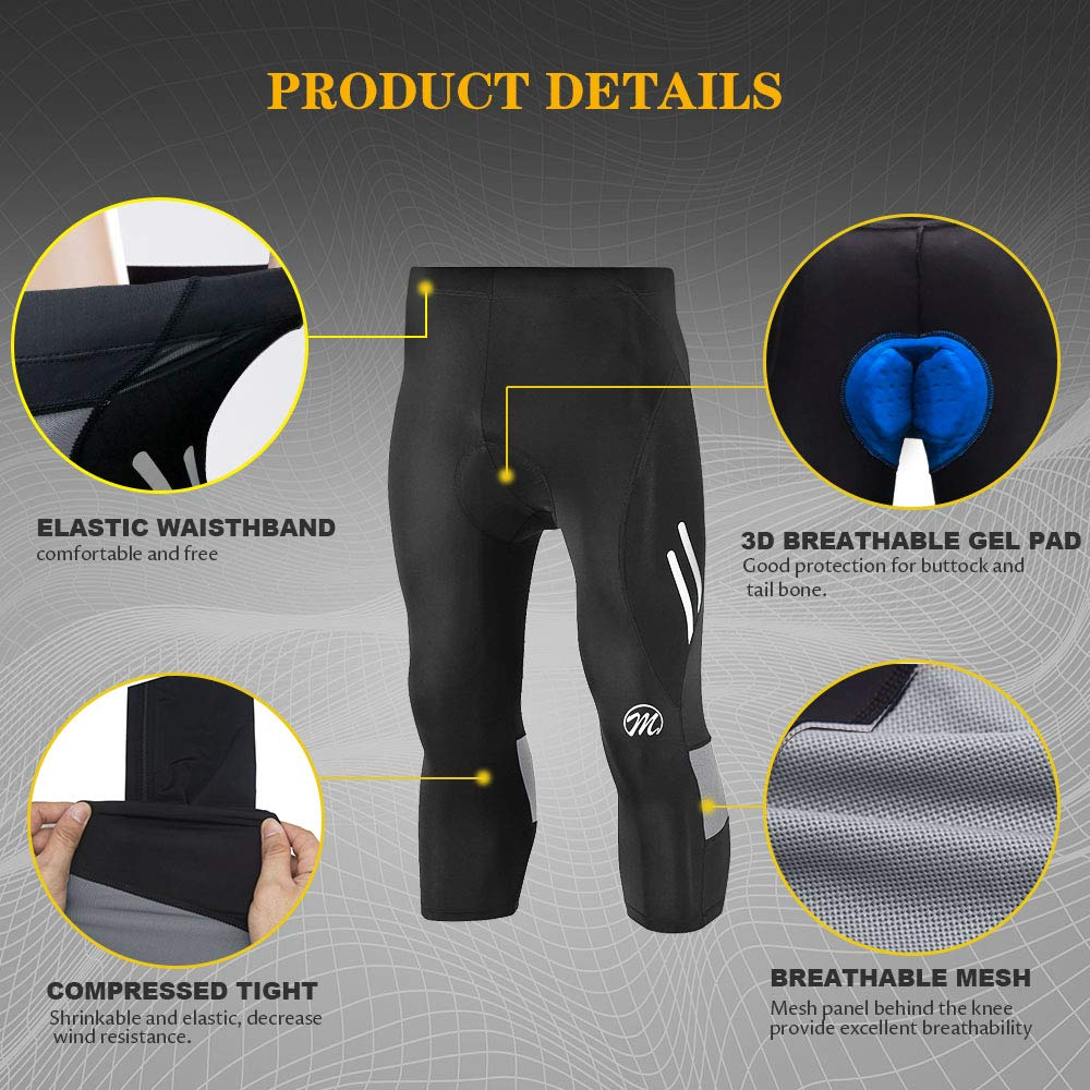 FEIXIANG Mens Cycling Tight Pants 4D Padded Bicycle Riding Compression Leggings Bike Clothes 3//4 Cycle Wear Sport Tights