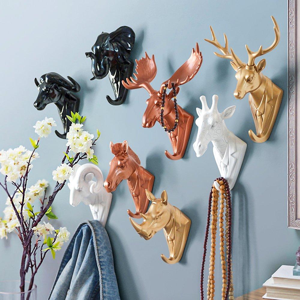Zhi Jin 1Pc Resin Rose Gold Animals Head Wall Hook Hanger Adhesive Door Rack for House Office Decor Mr.Deer by Zhi Jin (Image #2)