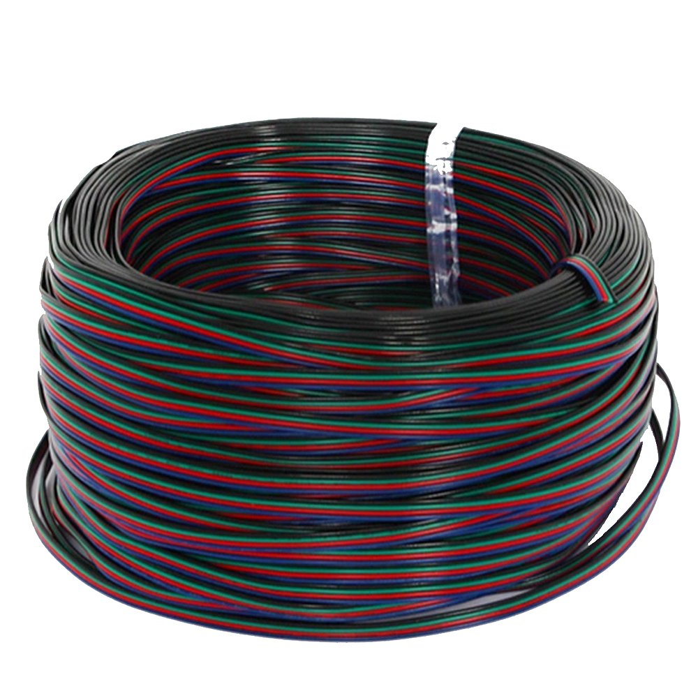 EvZ 22AWG 4pin LED Electric Wire 22 Gauge 590m 1Roll Conductor Extension Cable Line Cord for RGB LED Strip 5050 3528