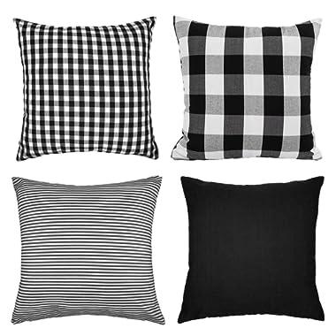 4TH Emotion Black and White Buffalo Check Plaids Throw Pillow Case Cushion Cover Cotton Canvas for Sofa 18 x 18 Inch Set of 4 Fall Halloween Farmhouse Home Decor