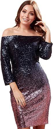 Roman Originals Vestido de mujer Bardot Ombre con lentejuelas de manga 3/4 – Vestido de moda para mujer, vestido de noche formal, Navidad, Año Nuevo, 1970 ocasiones de cóctel con lentejuelas