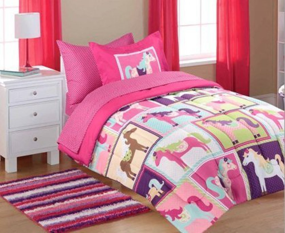 5pc Girl Pink Purple Horse Pony Twin Comforter Set
