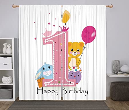 Polyester Window Drapes Kitchen Curtains,1st Birthday Decorations ...
