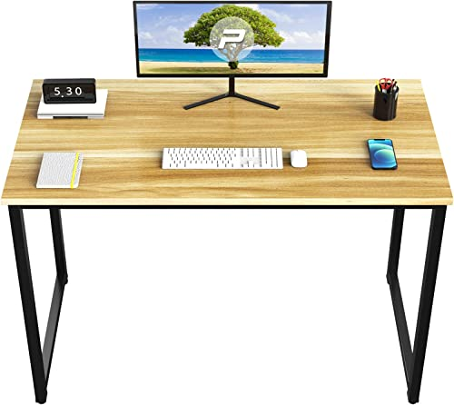 Pretzi Office Desk 40''Study Computer Desk Modern Simple Style Writing Table,Sturdy Home Office PC Desk Black Metal Frame
