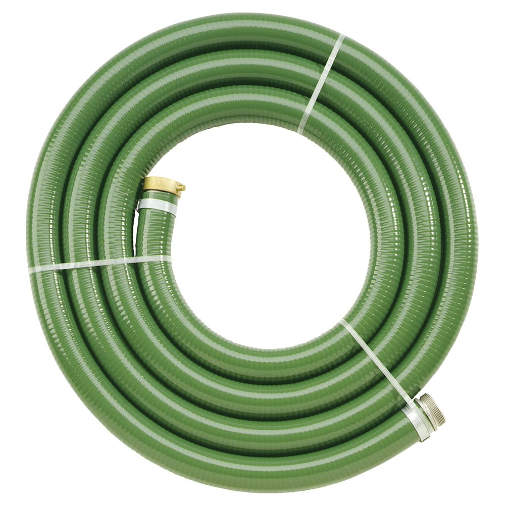 Apache 98128057 3'' x 25' PVC Style G (Green) Suction Hose  with Aluminum Pin Lug Fittings