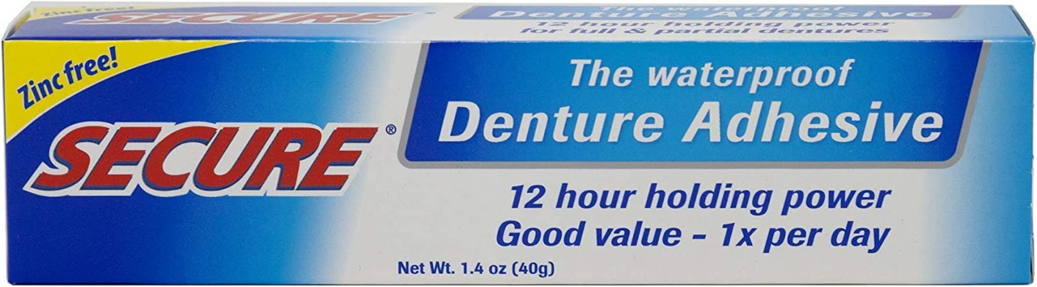 Secure Waterproof Denture Adhesive - Zinc Free - Extra Strong Hold For Upper, Lower or Partials - 1.4 oz: Health & Personal Care