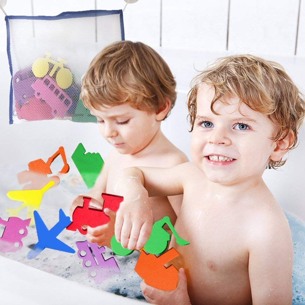 Bath Toy Foam Shapes and Storage Net Set 3 Bees and Me 3 Bees /& Me 20 Fun Foam Bath Toys for Toddlers Boys /& Girls Plus Toy Organizer