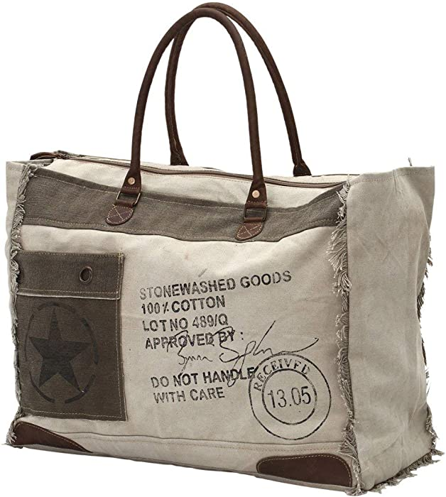 Myra Bags 13.05 Received Upcycled Canvas Weekender Bag S-0775 48db251ede2dd