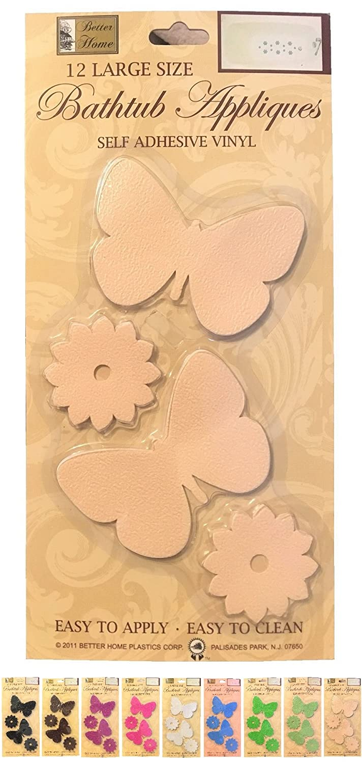 Better Home Plastic Corp 12 Butterfly Shaped Bathtub//Shower Appliques Safety Non Slip Treads White Decorative Color Selection