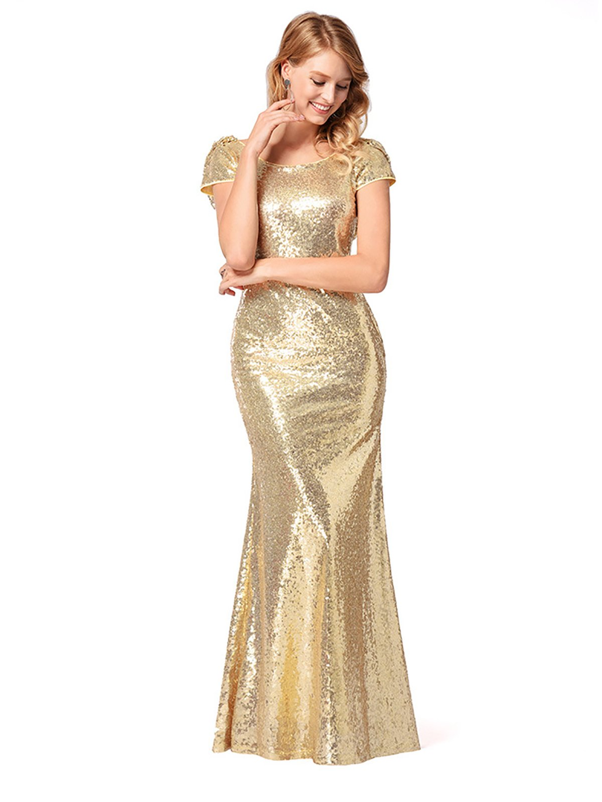 OMONSIM Gold Sequins Bridesmaid Dresses Formal Evening Gowns