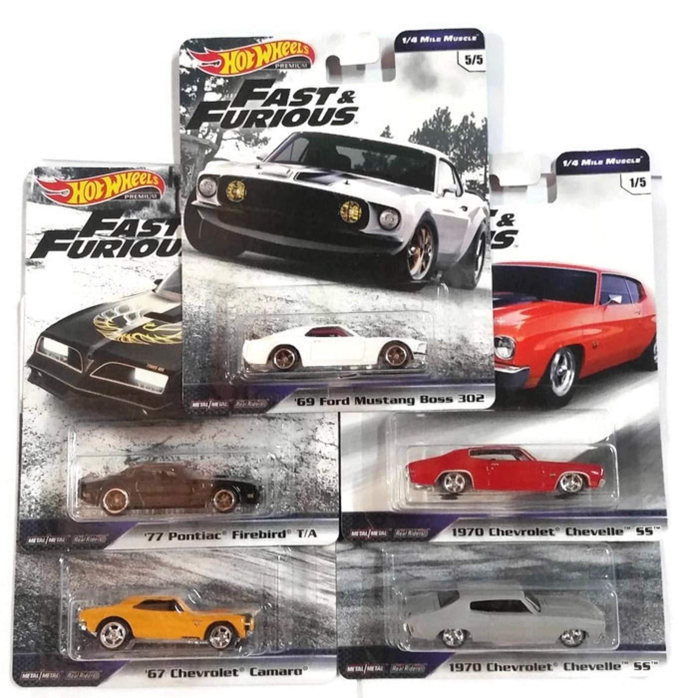 Hot Wheels 2019 Fast & Furious 1/4 Mile Muscle - Full 5 Car Set
