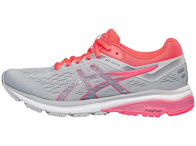 ASICS GT1000 7 Shoe Women's Running Shoe, Mid Grey/Flash Coral, 8 M US Best Breathable Mesh Running Shoes for Women