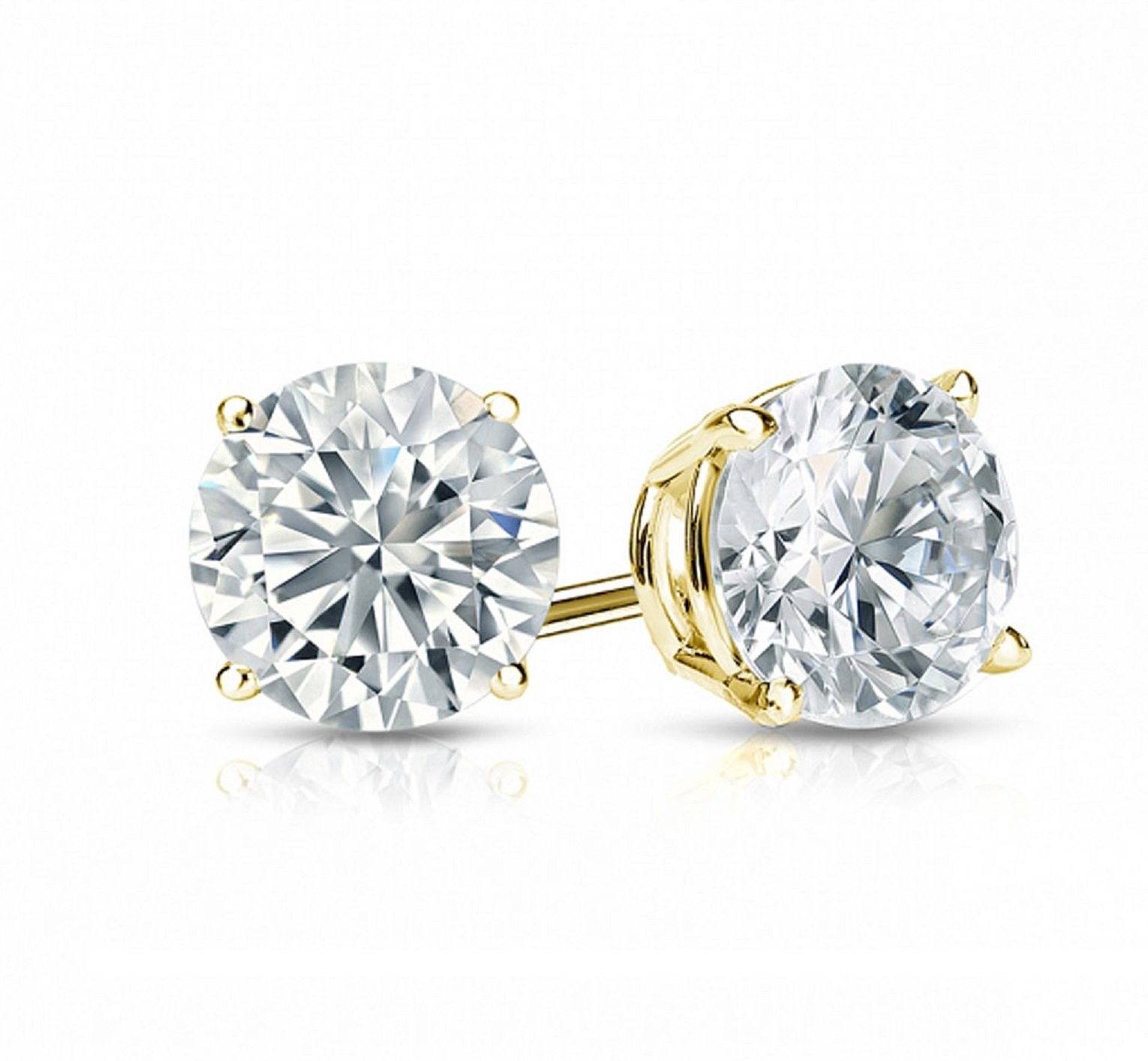 2.0 ct Round Brilliant Cut Simulated Diamond CZ Solitaire Stud Earrings in 14k Yellow Gold Push Back by Clara Pucci (Image #2)