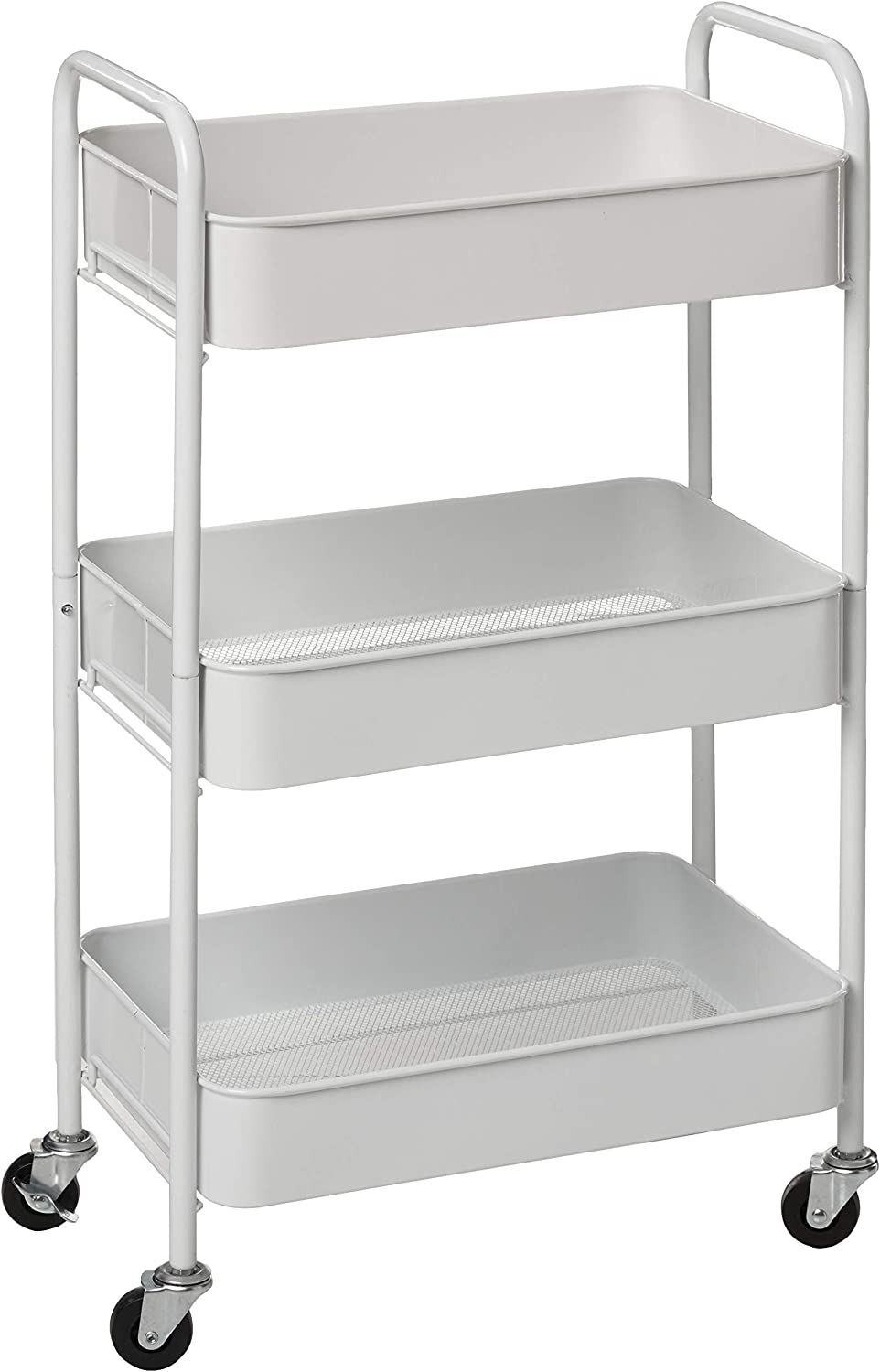 Amazon Com Caxxa 3 Tier Rolling Metal Storage Organizer Mobile Utility Cart Kitchen Cart With Caster Wheels White Kitchen Dining