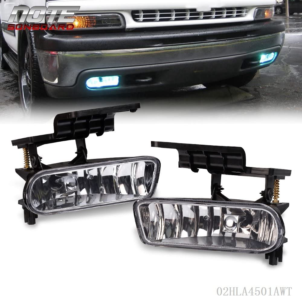 Replacement For Chevy 1999-2002 Silverado 1500 2500//2001-2002 Silverado 3500//2000-2006 Suburban Tahoe Driver Passenger Side Clear Bumper Fog Light Halogen Lamps Replacement With Bulbs