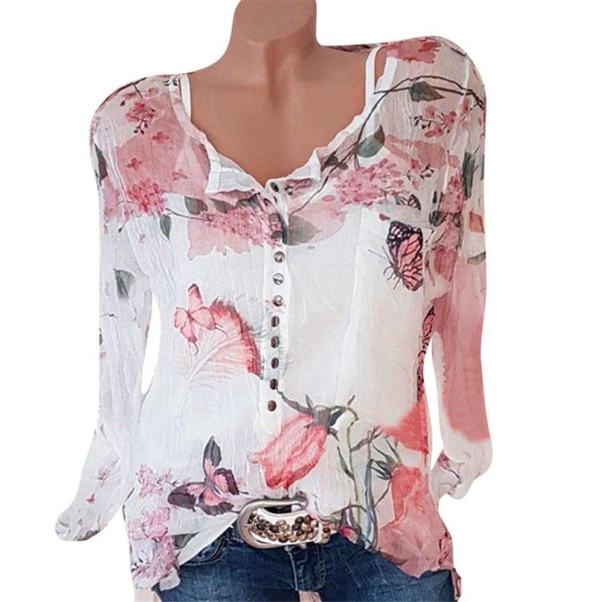 HongXander Plus Size Women Casual Floral Printed Beach Blouse Button T-Shirt Chiffon Irregular Hem Top
