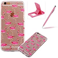 TPU Case for iPhone 6S,Clear Case for iPhone 6,Herzzer Ultra Slim Stylish [Colorful Pattern] Soft Silicone Gel Bumper Cover Flexible Crystal Transparent Skin Protective Case