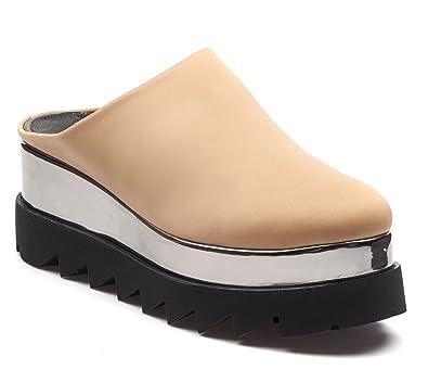 BOBERCK Stella Collection Women's Back Less Platform Slip on - Fashion Slip on Sneakers - Loafer Slip on (6 US, Red)
