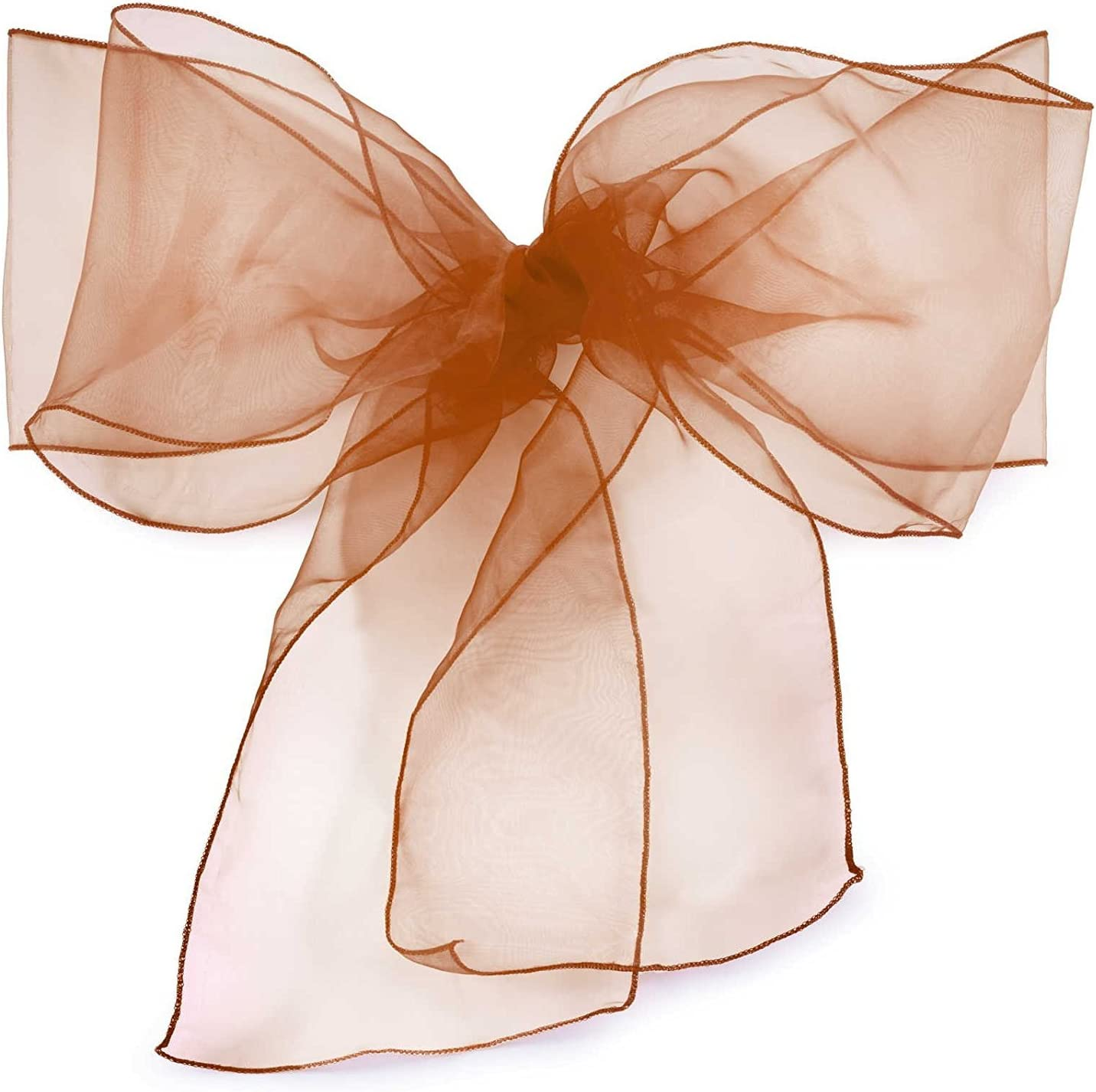 Elina Home Pack of 10 Organza Net Chair Cover Bow Sash Wedding Banquet Decor Coral (10, Coffee)