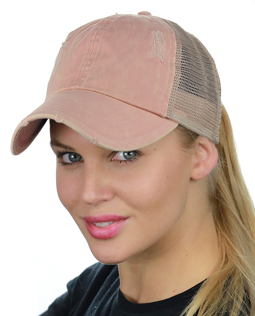 D&Y Ponyflo Ponytail Messy High Bun Distressed Adjustable Trucker Baseball Cap, Dusty Pink by D&Y (Image #2)