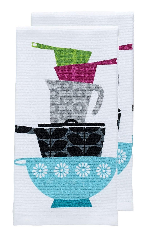 """T-fal Textiles Double Sided Print Woven Cotton Kitchen Dish Towel Set, 2-pack, 16"""" x 26"""", Pots & Pans Print"""