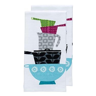 T-fal Textiles Double Sided Print Woven Cotton Kitchen Dish Towel Set, 2-pack, 16  x 26 , Pots & Pans Print