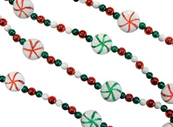 st nicks choice 6 peppermint twist sweet tooth sugared red green and white - Beaded Christmas Garland