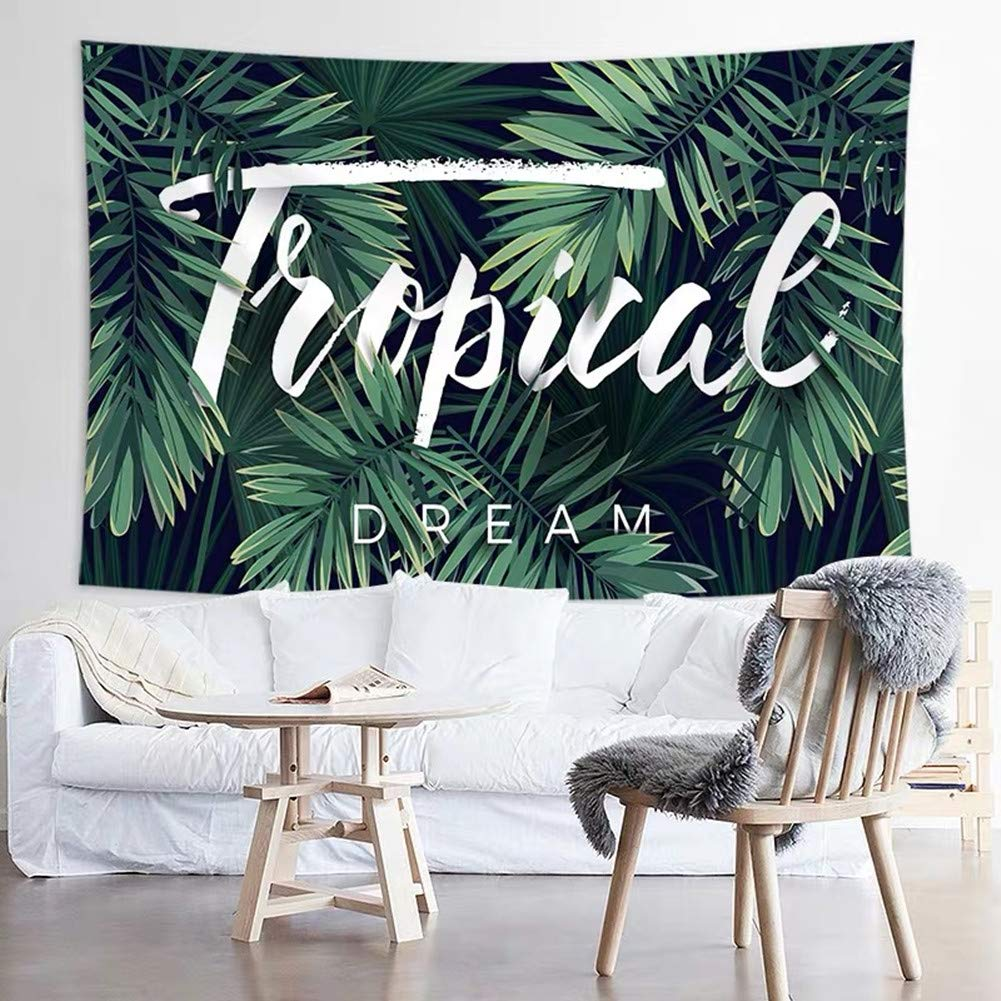 Jasion Tropical Palm Tree Leaves Tapestry Banana Leaves Green Plants Wall Hanging Art for Home Headboard Bedroom Living Room Dorm Decor in 51x60 Inches