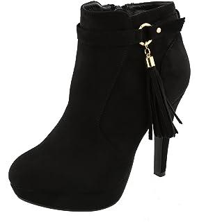 53dba562b28 Top Moda Women s Closed Almond Toe Tassel Platform Stiletto Heel Ankle  Bootie