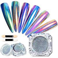 2 Boxes Holographic Nail Powder Rainbow Holographic Mirror Laser Effect Multi Chrome Manicure Pigment Glitter Dust for…