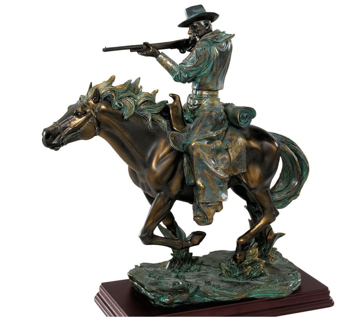 Bronze Finish Wild West Cowboy Sharp Shooter Sculpture Man and Horse Statue