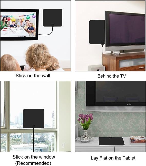 Antena de TV digital HD para interiores con amplificador de ...