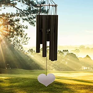 """OUTCREATOR Memorial Wind Chimes Outdoor Large Deep Tone 36"""" Long with Heart-Shaped Pendant & 8 Tubes Tuned Relaxing Melody, Two Screw Hooks,for Garden Yard Home Patio Porch Tree of Life Hanging Decor"""