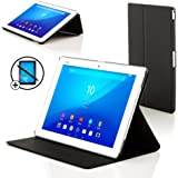 Forefront Cases® Sony Xperia Z4 Tablet 10.1 SGP771 (Released June 2015) Clam Shell Case Cover Stand – Ultra Slim with full device protection and Smart Auto Sleep Wake feature + STYLUS & SCREEN PROTECTOR (BLACK)
