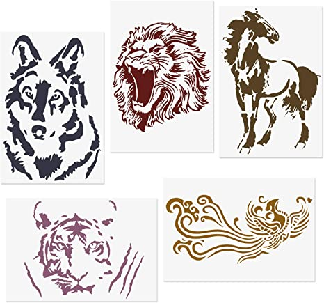 CODOHI 5 Packs Animals Stencils Zabra Peacock Feather Deer Dolphin Reusable Mylar Template DIY Craft Stencils for Painting 8.3x11.7