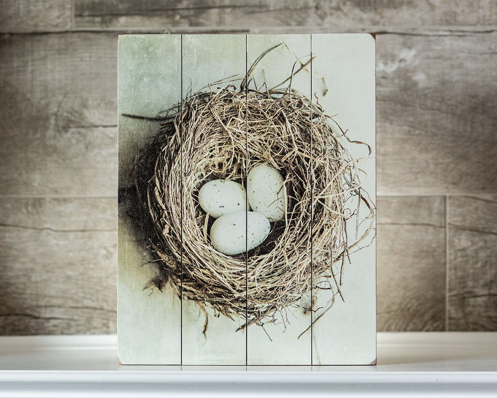Mother's Day Gift Country Home Decor Birds Nest Wood Sign 11x14