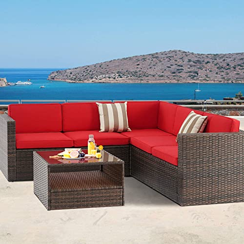 Patiomore 4-Piece 5 Seats Outdoor Patio Furniture Set Sectional Sofa Set, All-Weather Brown Wicker Red Washable Cushions with Tempered Glass Table