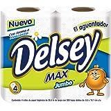Delsey Max Papel Higiénico, color Blanco, 4 rollos de 300 hojas