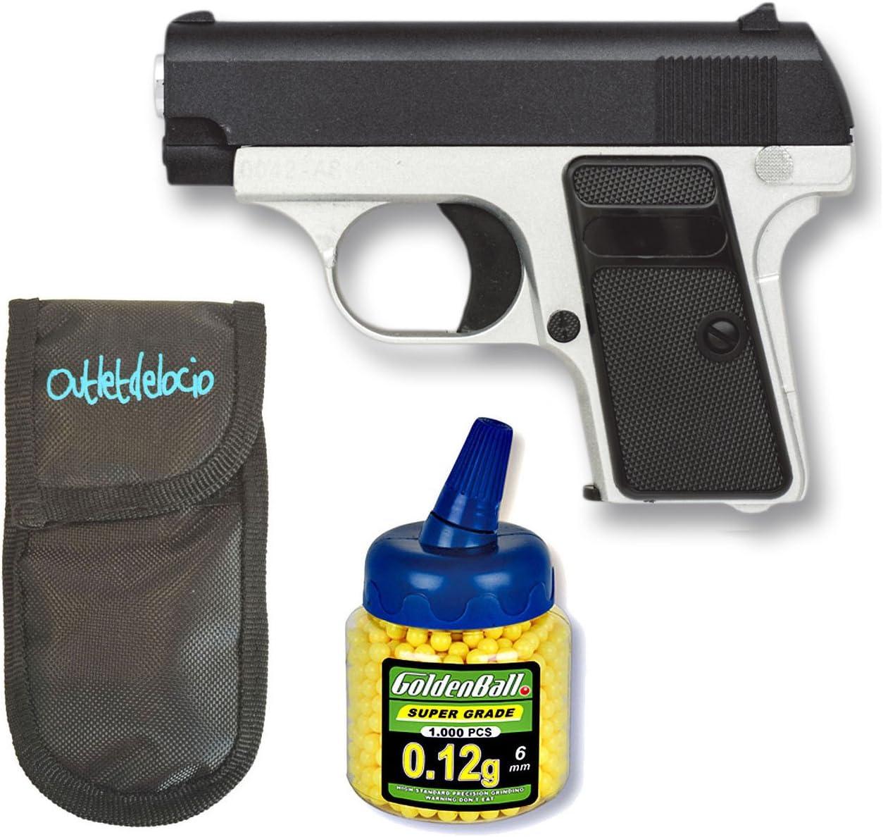 Outletdelocio. Pistola Airsoft Mini G1, Metalica. Calibre 6mm. + Funda Portabalines + Biberon 1000 Bolas. 50980/21993/23054
