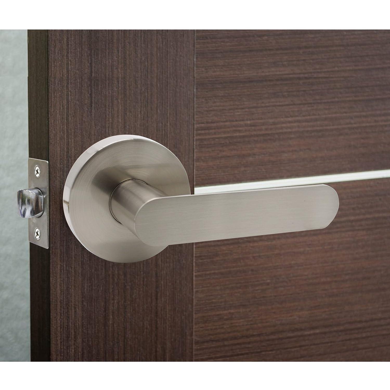 5 Pack Probrico Square Hallway Passage Lock Closet Door Levers Door Lock Lockset Door Handle Keyless DL01SNPS Satin Nickel